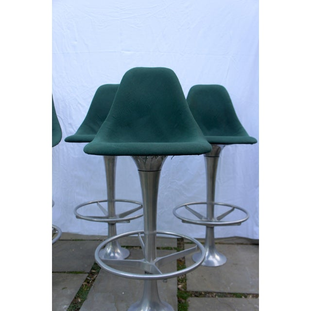 Industrial Mid-Century Modern Green Floor Anchored Bar Stools - Set of 5 For Sale - Image 3 of 12