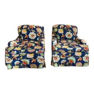 Floral Swivel Chairs by Hickory Chair - a Pair For Sale