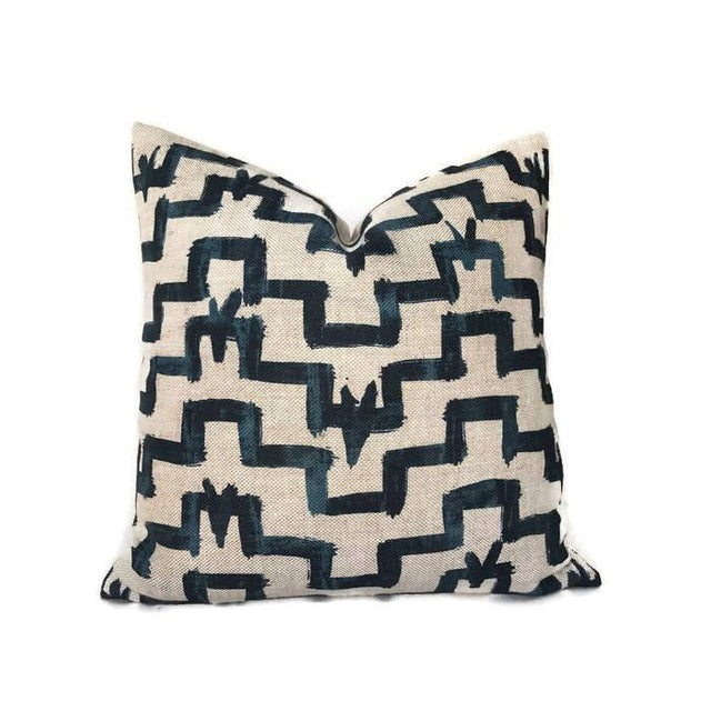 Art Deco Zak and Fox Tulu Indigo Blue Pillow Cover For Sale - Image 3 of 5