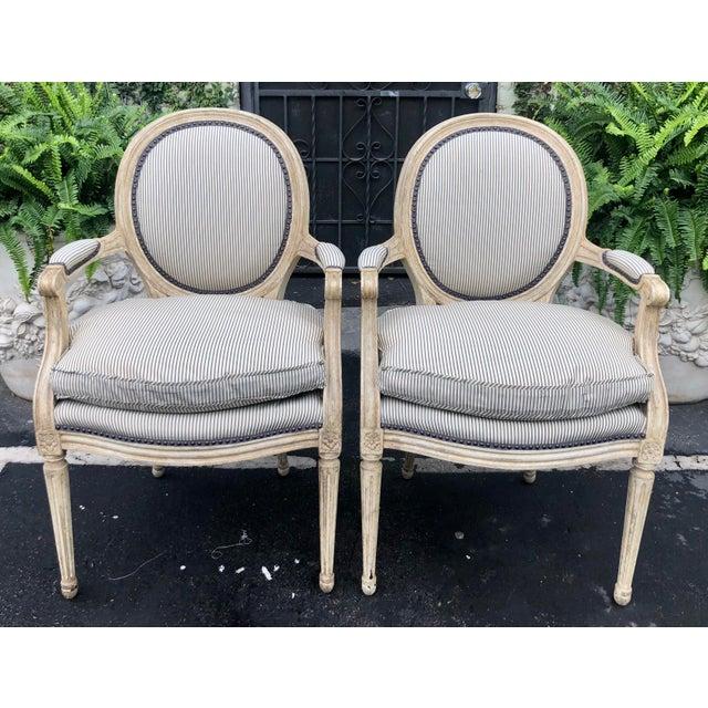 Pair of Louis XV Style Balloon Back Arm Chairs W Silk Down Cushions