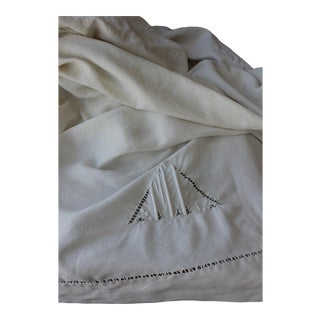 "Antique 1940s French White Linen Monogram Sheet Fabric - 88"" x 123"" For Sale"