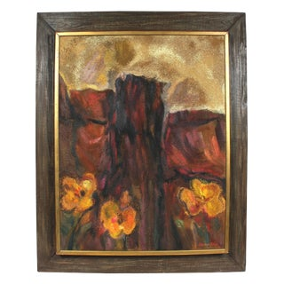 """Seymour Tubis """"Desert Bloom"""" Textured Landscape Painting, Circa 1960s 1960s For Sale"""