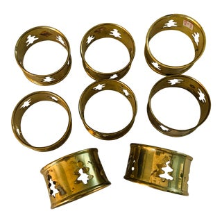 Vintage 1980s Brass Napkin Rings With Trees - Set of 8 For Sale