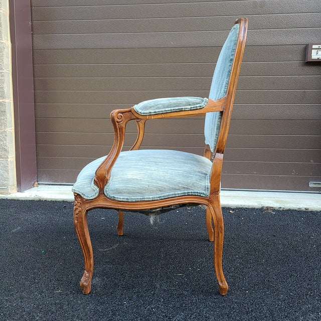 French Provincial Vintage French Provincial Carved Walnut Occasional Chair For Sale - Image 3 of 13