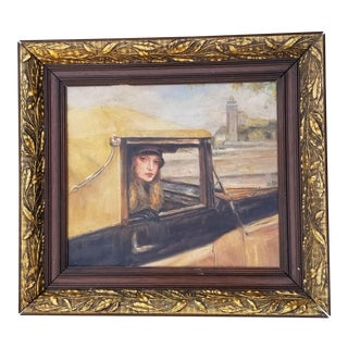French Portrait of a 1920s Flapper in a Car For Sale