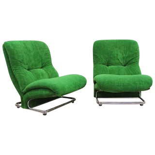 Pair of Italian Chrome Lounge Chairs For Sale