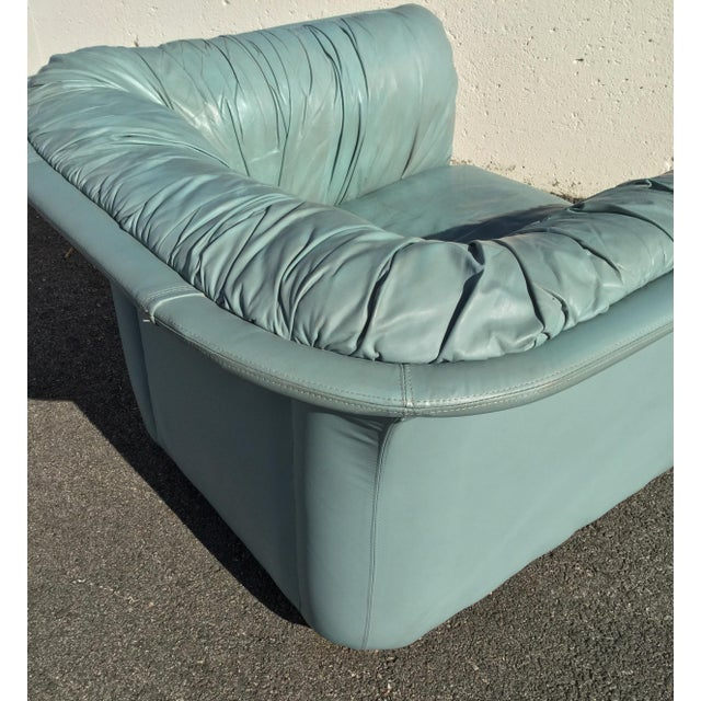 1980s Contemporary Light Blue Leather Hickory Nc Club Chair For Sale - Image 10 of 13