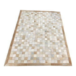 Neutral Cowhide Square Patch Rug- 4′12″ × 6′6″ For Sale