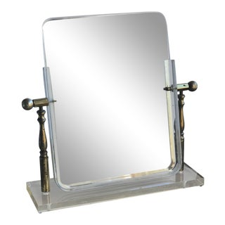 1964 Display Mirror Plate Glass With Lucite Base For Sale