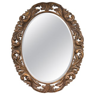 Carved Italian Oval Burnished Pine Mirror For Sale