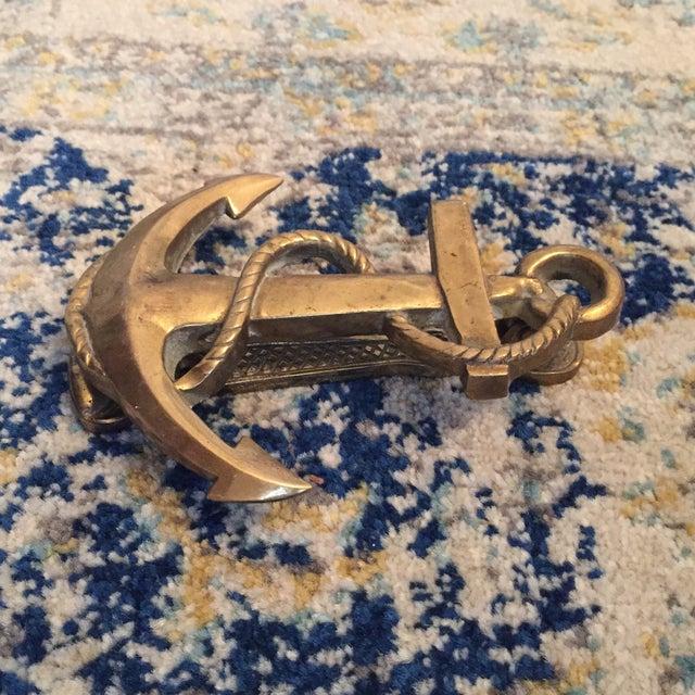 Nautical Coastal Beach House Anchor & Rope Brass Door Knocker - Image 4 of 11