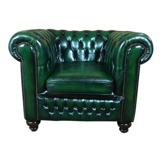 20th Century Vintage English Traditional Forest Green Leather Club Chair For Sale