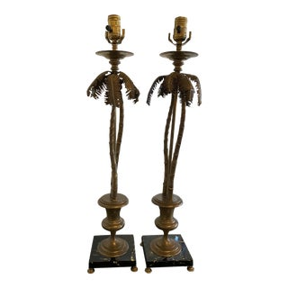 Vintage Tropical Palm Beach Brass Marble Palm Tree Table Lamps -A Pair For Sale