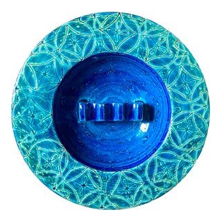 Aldo Londi Bitossi Blue Green Italian Pottery Ashtray For Sale