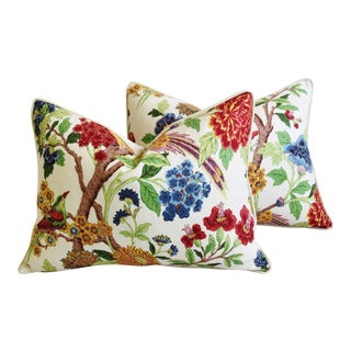 """Chinoiserie Bird & Floral Feather/Down Pillows 24"""" X 18"""" - Pair For Sale"""