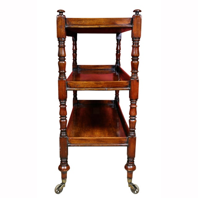 Brown Regency Mahogany Book Trolley For Sale - Image 8 of 11