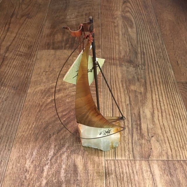 Mid-Century Brutalist Brass Sailboat by DeMott - Image 2 of 9