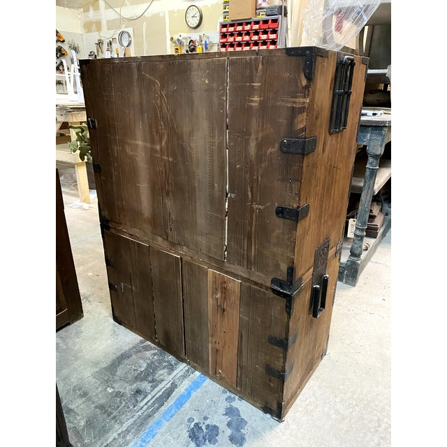 Mid 19th Century Japanese Meiji Period Kiri Wood Tansu Clothing Cabinet For Sale - Image 12 of 13