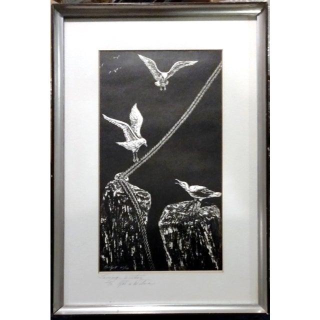 "Jane Heckett ""Seagulls"" Knife Etching - Image 1 of 9"