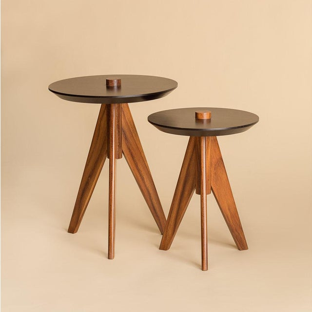 Modern set of nesting tables. Top is made with solid Palo blanco wood. Base is made with solid Conacaste wood and natural...