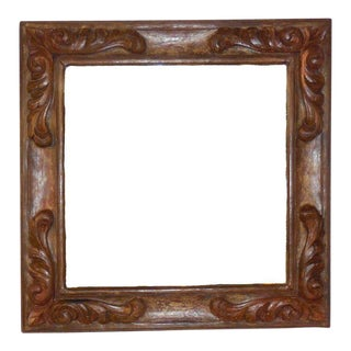 Hand-Carved Wooden Mirror For Sale