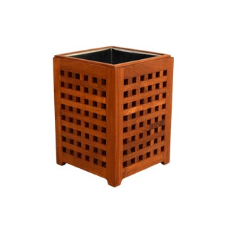 1970s Danish Modern Teak Waste Can Planter For Sale