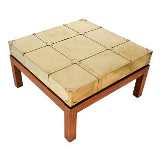 Brass & Walnut Coffee Table by Sarreid Ltd. For Sale