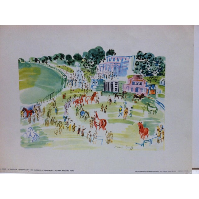 """This is an Original French Print that is titled """"Le Paddock A Longchamp Galerie Petrides"""" Paris -- by Duffy. The Print is..."""
