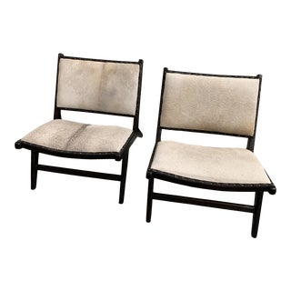 Balinese Cowhide Lounge Chairs - a Pair For Sale