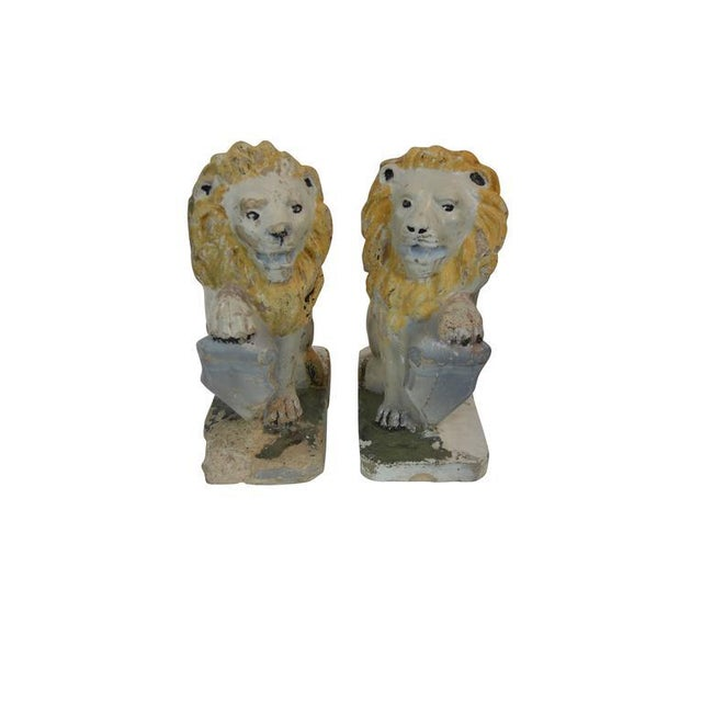 Painted Concrete Garden Lion Statues - a Pair For Sale - Image 4 of 9