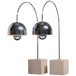 Guzzini Chrome Arc Table Lamp With Travertine Base - a Pair For Sale