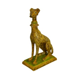 Italian Greyhound Mid Century Faux Painted Pottery Statue For Sale