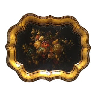 Peter Ompir Hand Painted Tole Decorative Fruit Tray For Sale