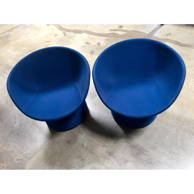 2010s Avalon by Swedese Blue Circular Swivel Chairs - a Pair For Sale - Image 5 of 10