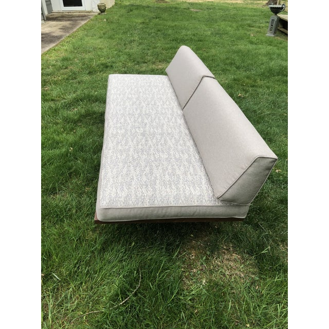 Fresh upholstery updates this classic 70s daybed. All neutral grey/beige tones, with one side of the seat cushion done in...