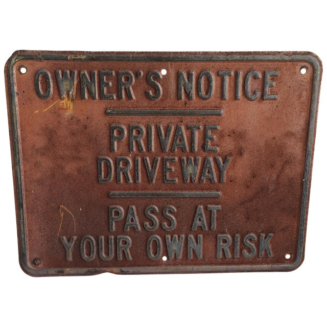 Vintage Private Driveway Sign - Image 1 of 6