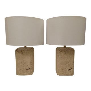 Ceramic Faux Stone Block Lamps - a Pair, Mid-Century For Sale