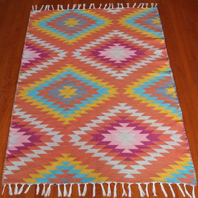 Rainbow Flat Weave Diamond Turkish Wool Kilim Rug - 4' x 6' - Image 3 of 12