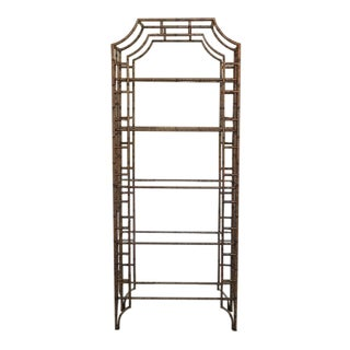 1990s Chippendale Faux Tortoise Paint Decorated Tiered Etagere Shelf For Sale