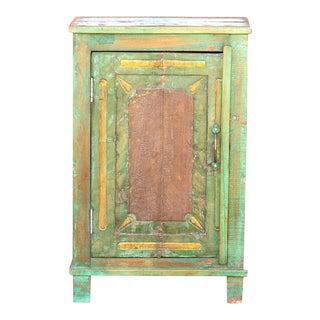Folk Painted Farmhouse Petite Cabinet For Sale