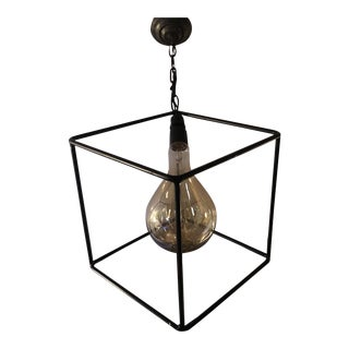 Geometric Minimalist Handmade Metal Lighting Fixture Square** For Sale