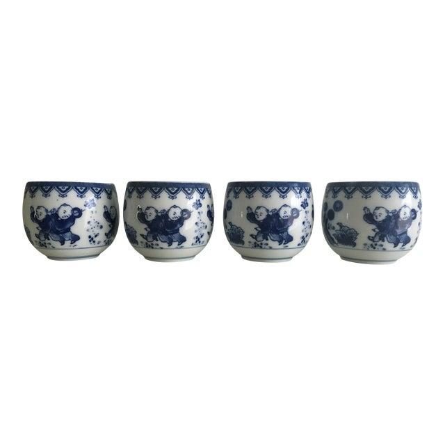 Blue & White Porcelain Tea Cups - Set of 4 - Image 1 of 8