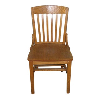 Oak Slatted Back Vintage Chair For Sale
