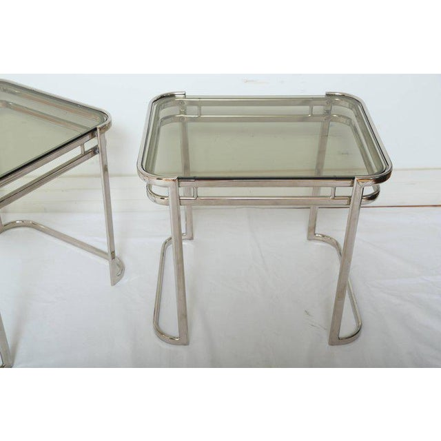 Pair of Italian Mid-Century Modern Chrome Side Tables For Sale - Image 9 of 12