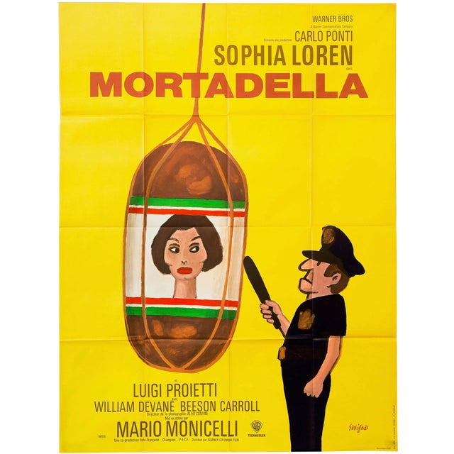 "Vintage Large 1972 French Sophia Loren ""Mortadella"" Film Poster For Sale"