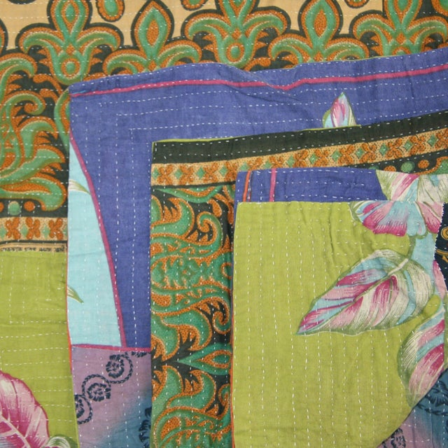 Vintage Green & Blue Kantha Quilt - Image 2 of 3