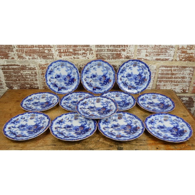 19th Century English Ironstone Blue and White Chinoiserie Plates- Set of 12 For Sale - Image 4 of 13
