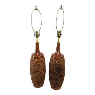 Mid-Century Cork & Walnut Bottle Form Lamps - A Pair For Sale