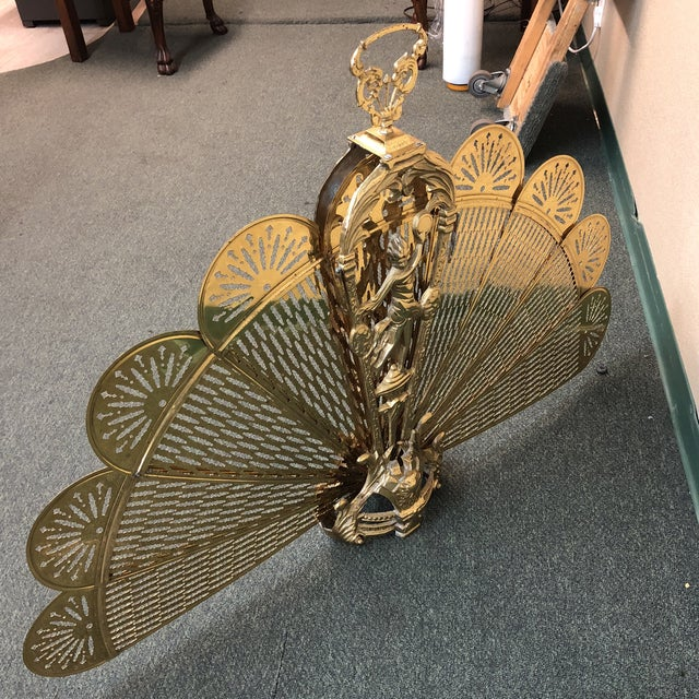 Gold Art Deco Brass Folding Fire Screen For Sale - Image 8 of 13