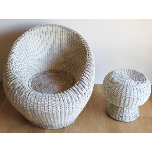 Isamu Kenmochi for Yamakawa Japan Rattan Lounge Chair & Side Table For Sale - Image 9 of 13